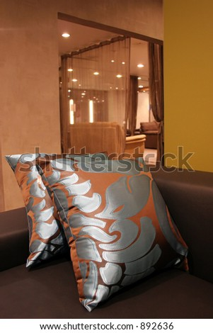 Living room in a luxury house - home interiors - stock photo