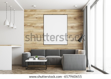 Living Room In A Studio Apartment With Wooden And White Walls, Wooden  Floor. Bar Part 92