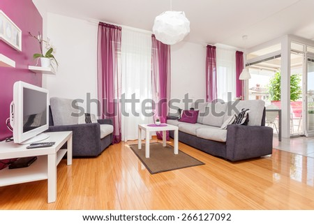 living room in an modern apartment - stock photo