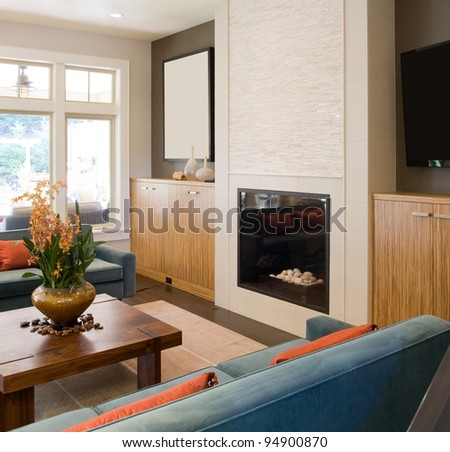 Living Room in Beautiful New Luxury Home - stock photo