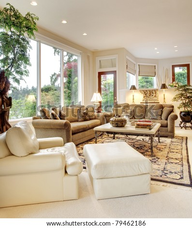 Living Room in Luxurious New Home - stock photo