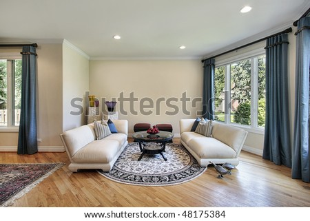 Living room in luxury home with outside view - stock photo