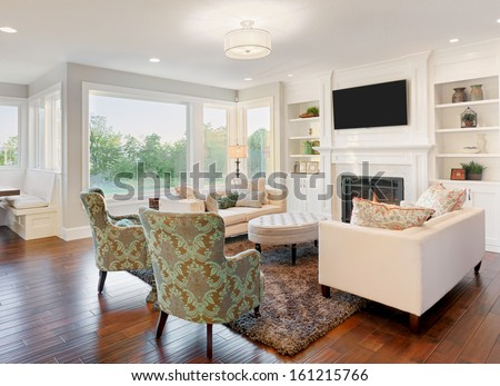 Living Room in New Luxury Home - stock photo