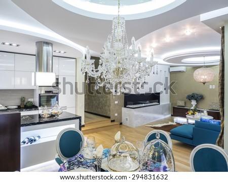 Living room interior  ceiling design - stock photo