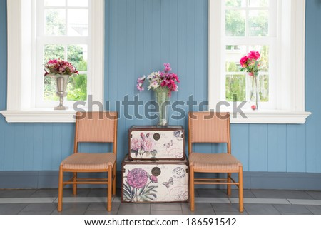 Living room interior - Classic Vintage Style Furniture Set in a living room. Interior of living room in house.  - stock photo