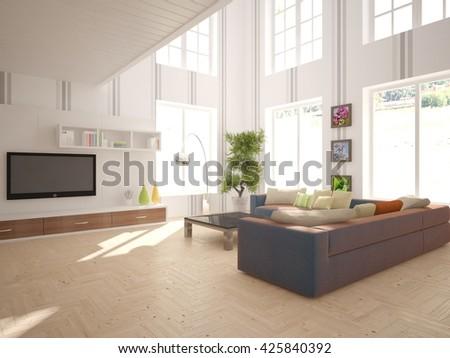 living room interior - 3d illustration - stock photo