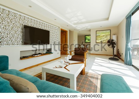 Living Room Interior Design with large balcony  - stock photo
