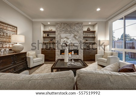 Living Room Interior Gray Brown Colors Stock Photo 557519992