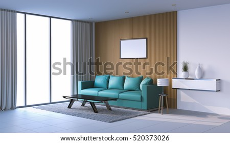 Living room interior in modern style, 3d images