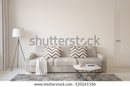 Living Room Interior In Scandinavian Style 3d Render.