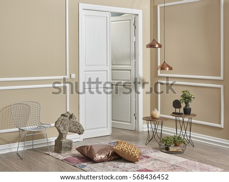 living room interior style behind white door frame wall concept - Door Photo Frame