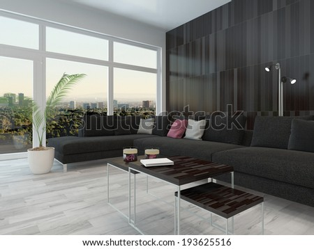 Living room interior with black couch, coffee table and dark wooden wall - stock photo