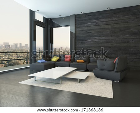 Living room interior with black couch with colored pillows - stock photo