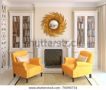 Living-room interior with fireplace. 3d render. - stock photo