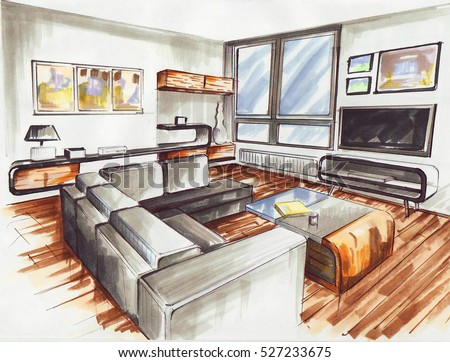 Living Room Very Modern Interior Design Stock Illustration