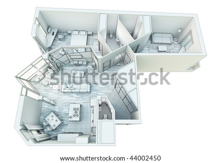 living room + kitchen 3D project top view - stock photo