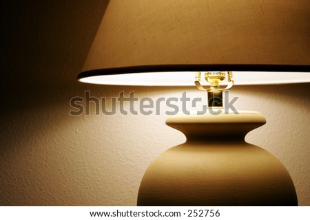 Living Room Lamp with shade and light - stock photo