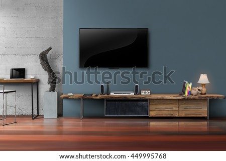 Living Room Led Tv On Dark Blue Wall With Wooden Table Media Furniture  Modern Loft Style