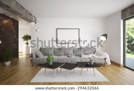 Living room - Minimalism (3 d render using 3 d s Max) - stock photo