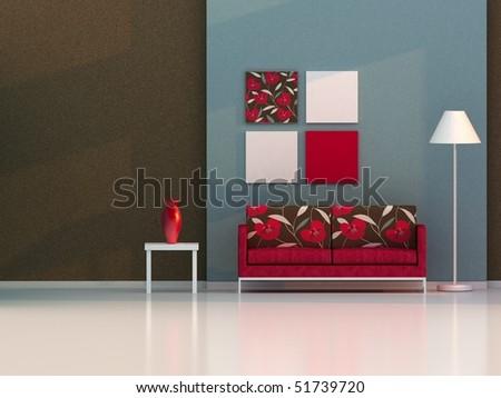 living room , modern room - stock photo