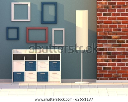 living room, modern room - stock photo