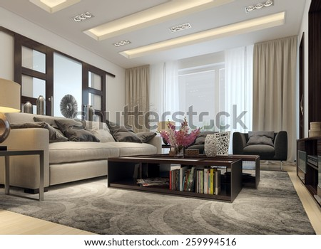 Living room modern style. 3D images - stock photo
