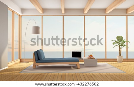 Living room of a contemporary holiday villa with sea views - 3d rendering - stock photo