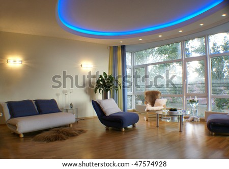 Living room of a new modern flat - stock photo