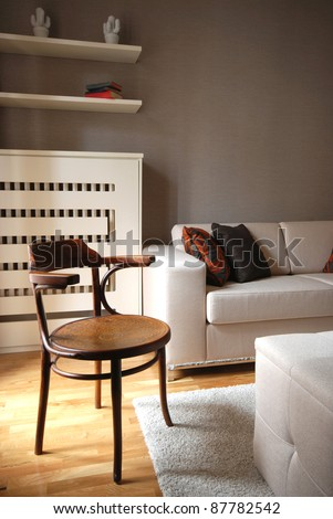 Living room of a new modern home - stock photo