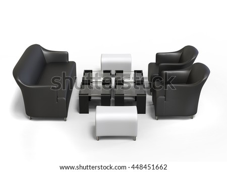 Living room set - sofa, two armchairs, coffee tables and ottomans - top view - 3D Render - isolated on white background