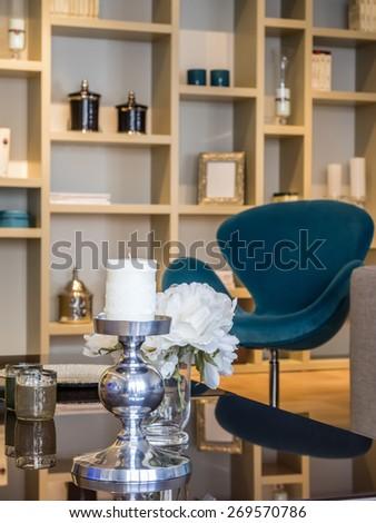 Living room shelves - stock photo