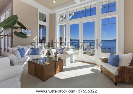 Living Room water front view - stock photo