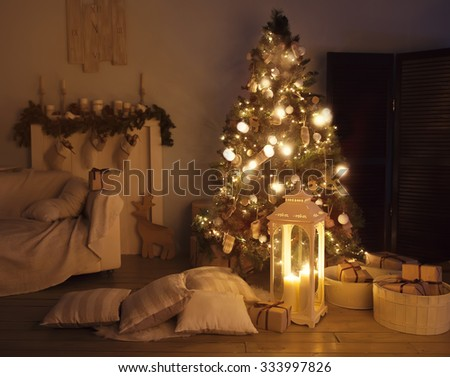 living room with a Christmas tree - stock photo
