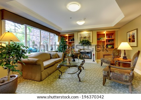 Living room with antique furniture, fireplace, bookshelves and decorative plants.