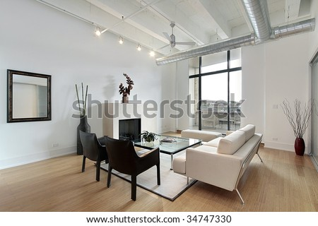 Living room with balcony view - stock photo