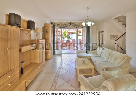 living room with big terrace - stock photo