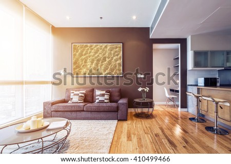 Living Room With Big Window Interior. Big Picture On Brown Wall Part 93