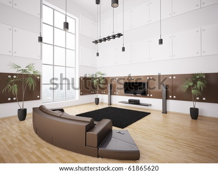 Living room with brown sofa and lcd interior 3d render - stock photo