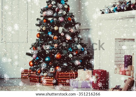 living room with Christmas Tree, stars and snow - stock photo