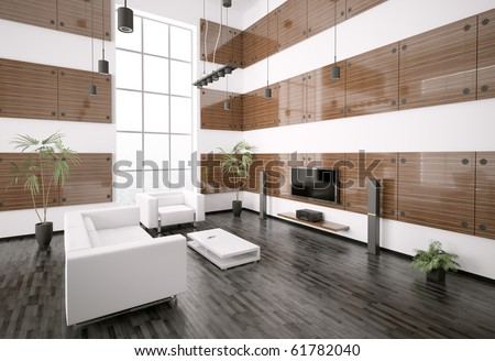 Living room with ebony wood panels interior 3d render
