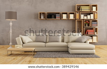 Living room with elegant sofa and wall bookcase -3D Rendering - stock photo