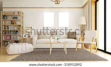 Living room with empty white picture frames on the wall (3D Rendering) - stock photo
