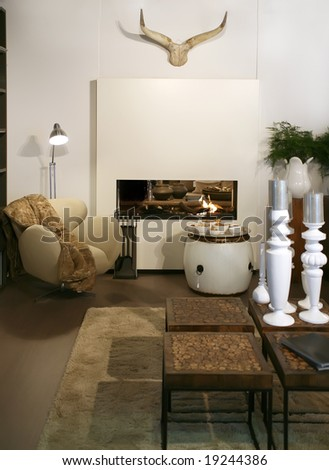 living room with fire-place - stock photo