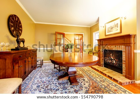L Iving Room Fireplace Mustard Wall Color Stock Photo (100% Legal ...