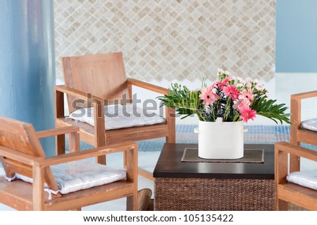 living room with flower, vintage wood chair - Natural Wood Furniture White Wall Decor Stock Photo 453696427