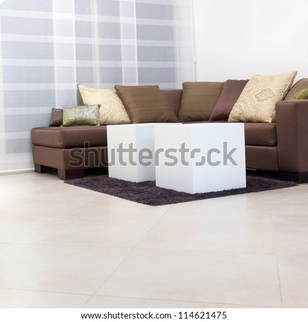Living room with furnishings in a new house
