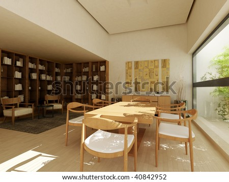 Living room with furniture, books and art on the wall. - stock photo
