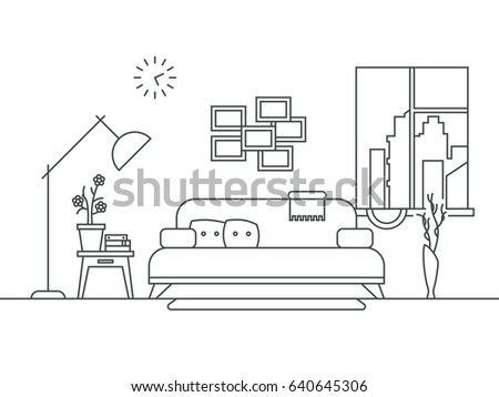 Living Room With Furniture Interior In Thin Line Style Illustration Comfortable Linear