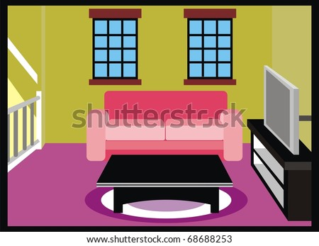 Living Room Furniture TV Table Sofa Stock Illustration 68688253 ...