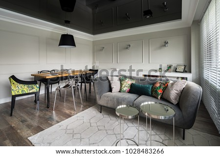 excellent living room ceiling design. Living room with gray couch and wooden dining table black stretch  ceiling Ceiling Stock Images Royalty Free Vectors Shutterstock